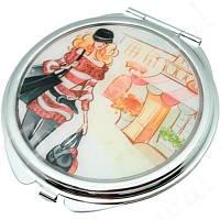 """Зеркало карманное круглое 6,5 см. """"Jardin d'ete - Шопинг"""" серебристое, металлическое с наклейкой, фото 1"""