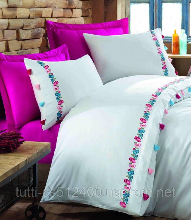 Купить Постельное белье сатин с вышивкой Dantela Valeria fusya, Dantela Vita
