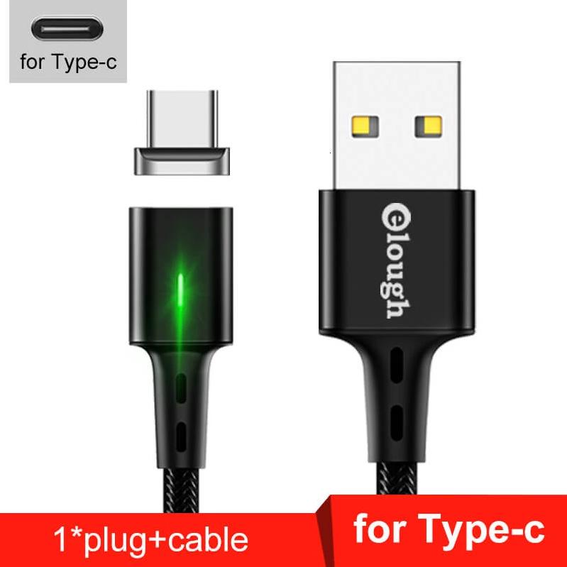 Elough E-Star 3A магнітний USB Type-C кабель. Швидка зарядка Qualcomm Quick Charge 3.0 Black