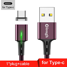 Elough E-Star 3A магнітний USB Type-C кабель. Швидка зарядка Qualcomm Quick Charge 3.0 Black, фото 3