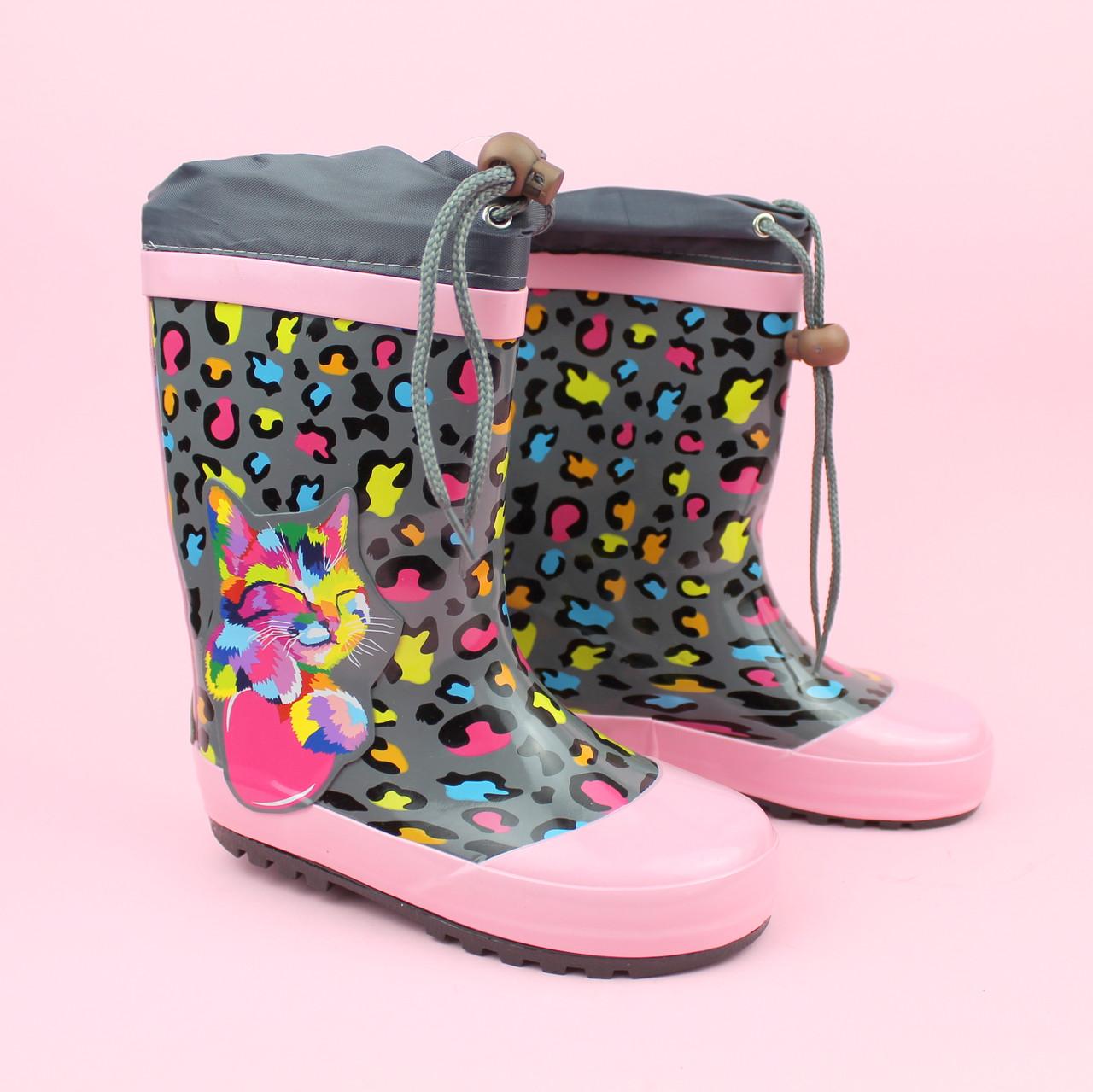 Дитячі Гумові чобітки для дівчинки Котик тм Bi&Ki розмір 29