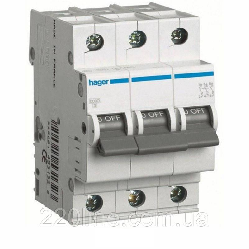 Автоматический выключатель Hager MC303A 3A 6 кА 3 полюса тип С