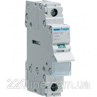 Выключатель нагрузки 1 полюс 100А 230W SBN190 Hager