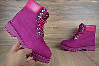 Женские зимние ботинки в стиле Timberland малиновые нубук/мех 36 (23,5 см)