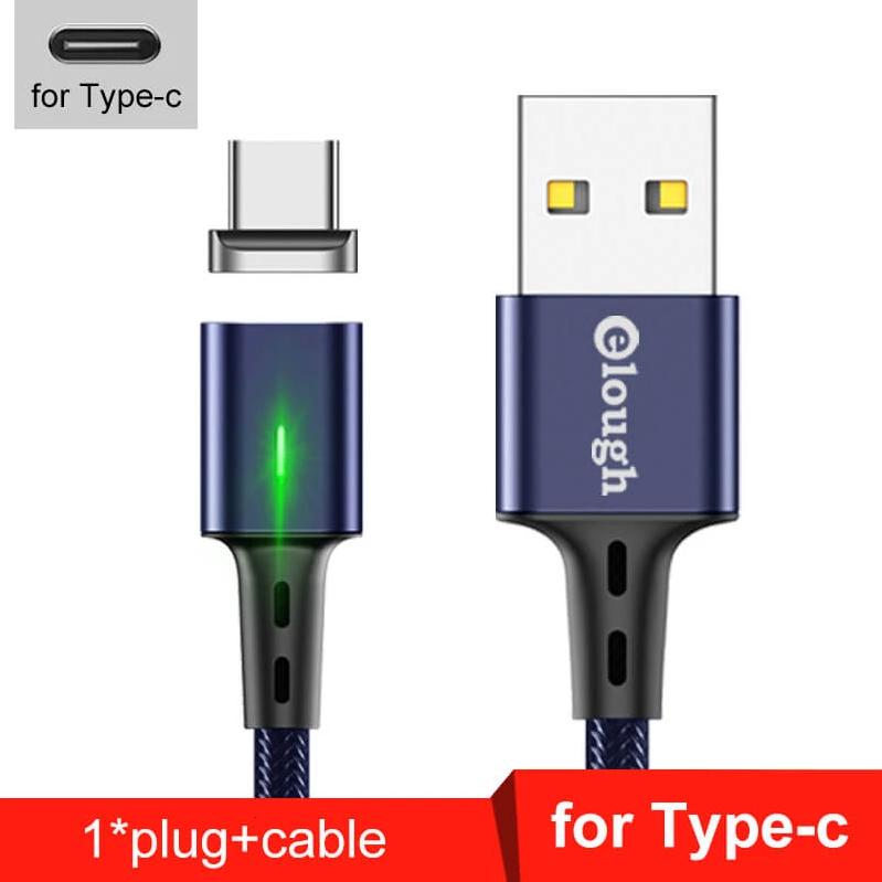 Elough E-Star 3A магнитный USB Type-C кабель. Быстрая зарядка Qualcomm Quick Charge 3.0 Moonlight Blue