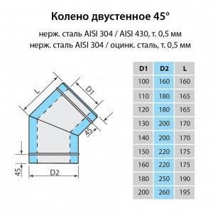 Колено для дымохода Витан нержавейка в нержавейке 45° d200/260 мм, фото 2