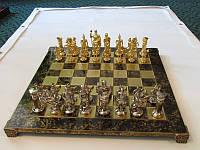 Шахматы Manopoulos Греко-римские латунь в деревянном футляре коричневые 44х44см
