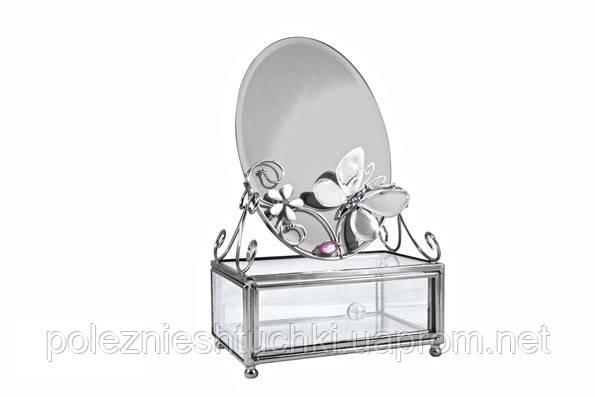 """Шкатулка прямоугольная с зеркалом 8х6х13 см. """"Зеркальная бабочка"""" металл со стразами, Charme de Femme"""