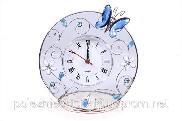 """Часы настольные 14 см. """"Голубая бабочка"""" стеклянные со стразами, Jardin D'ete"""