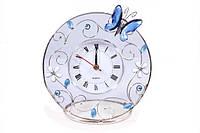 """Часы настольные 14 см. """"Голубая бабочка"""" стеклянные со стразами, Jardin D'ete, фото 1"""