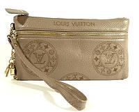 Клатч - кошелек женский натуральная кожа серый Louis Vuitton