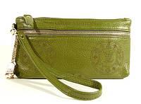 Клатч - кошелек женский натуральная кожа зеленый Louis Vuitton