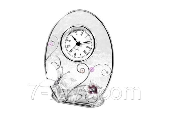 """Часы настольные 15 см. """"Колокольчики и зеркальная бабочка"""" стеклянные со стразами, Charme de Femme"""