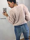 Женский теплый вязаный свитер с рукавом регланом и узорной вязкой 82sv598, фото 3