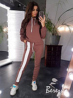 Теплый женский спортивный костюм на флисе с асимметричной кофтой и штанами на манжетах 66so740Q