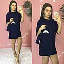 Прямое однотонное платье для мамы и дочки с рукавом 3/4 28md53, фото 4