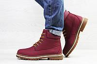 Женские зимние ботинки на меху в стиле Timberland, бордовые 37 (24 см)