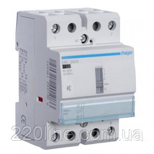 Контактор бесшумный с ручным управлением Hager ERC240S 40A 2НО 230W