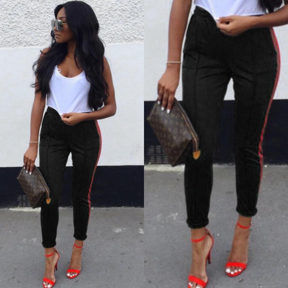 Броюки женские с лампасами, повседневные, прогулочные, стильные, с карманами, штаны спортивные