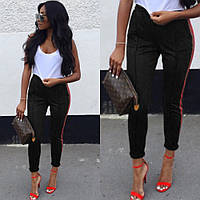 Броюки женские с лампасами, повседневные, прогулочные, стильные, с карманами, штаны спортивные, фото 1