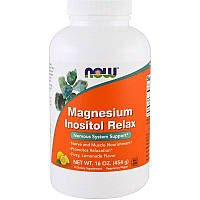 """Магний и Инозитол NOW Foods """"Magnesium Inositol Relax"""" расслабляющий, вкус лимон, в порошке (454 г)"""
