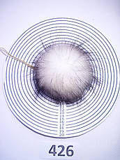 Меховой помпон Енот, Белый с черными кончиками, 9/11 см, 426, фото 2
