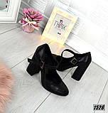 Замш и кожа! Элегантные черные туфли на каблуке, фото 6