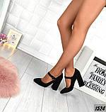 Замш и кожа! Элегантные черные туфли на каблуке, фото 2
