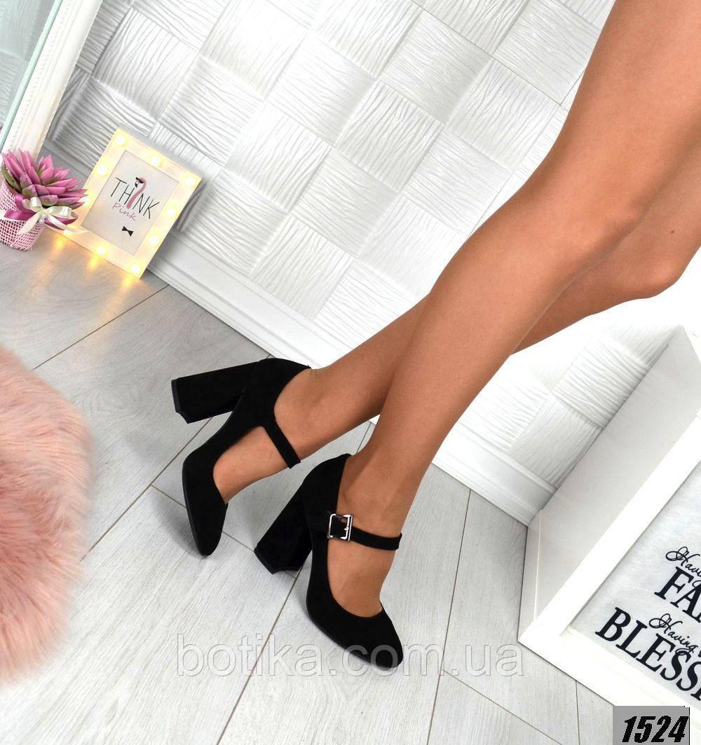 Замш и кожа! Элегантные черные туфли на каблуке