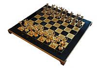 Шахматы Manopoulos Геркулес латунь в деревянном футляре синие 36см х 36см