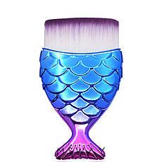 KATTi Кисть для макияжа Русалка metalic сине-розовая прямая для контуринга, тональных средств, фото 2