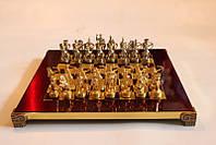 Шахматы Manopoulos Лучники латунь в деревянном футляре красные 28см х 28см