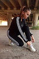 Женский спортивный костюм с белыми лампасами на кофте и штанах и с манжетами 80rt746