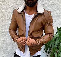 Мужская кожаная куртка косуха кожанка осенняя весенняя коричневая с мехом. Фото в живую, фото 1