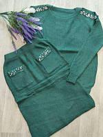 Женский вязанный костюм двойка. Зеленый