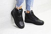 Женские зимние кроссовки в стиле Vans, черные 37 (23,5 см)