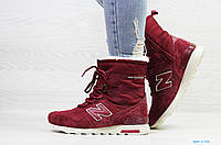 Женские зимние кроссовки в стиле New balance, бордовые 39 (25 см)