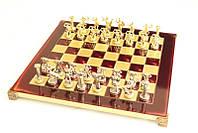 Шахматы Manopoulos Титаны латунь в деревянном футляре красные 36см х 36см
