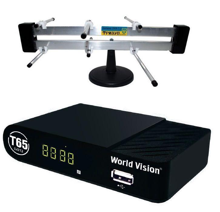 Комплект цифрового ТВ World Vision T65 + комнатная антенна Тризуб