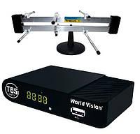 Комплект цифрового ТВ World Vision T65 + комнатная антенна Тризуб, фото 1