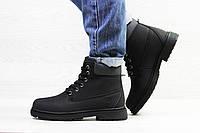 Женские зимние ботинки на меху в стиле Timberland, черные 39 (25 см)