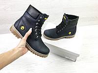 Женские зимние ботинки на меху в стиле Timberland, тёмнo-cиние 37 (24,7 см)