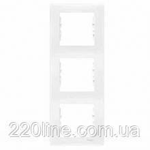 Рамка 3 поста вертикальный монтаж белая Schneider Electric Sedna