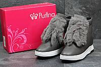 Женские зимние ботинки в стиле Purlina, серые 38 (24 см)