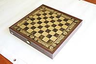 Шахматы Manopoulos Троянская война латунь в деревянном футляре коричневые 54см х 54см