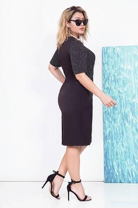 Платье женское карандаш с горохом, черное. Размеры 48, 50, 52, 54, фото 2