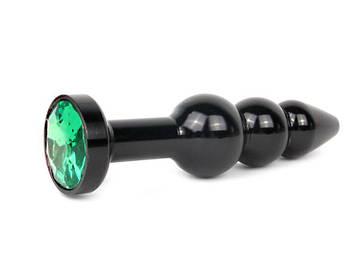 Анальная втулка чёрная, L 113 мм D 22x25x29 мм, вес 100г, цвет кристалла зелёный