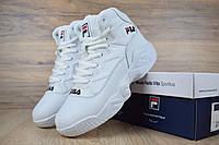 Женские зимние кроссовки в стиле FILA высокие белые кожа/мех 41 (26 см)