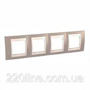 Рамка 4 поста коричневый/слоновая кость Schneider Electric Unica Plus