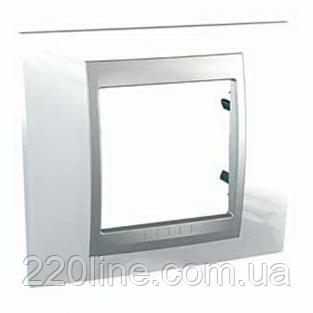 Рамка 1 пост Белоснежный/алюминий Schneider Electric Unica Top